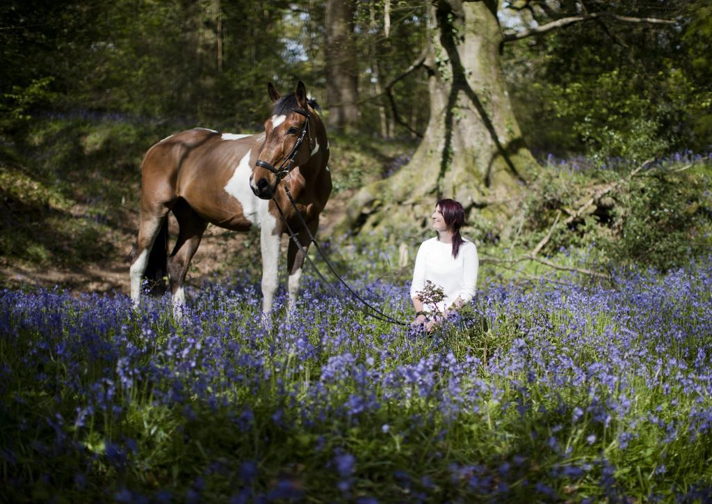 Owner and horse portrait booked for when the bluebells were in flower